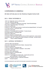 Seminars schedule